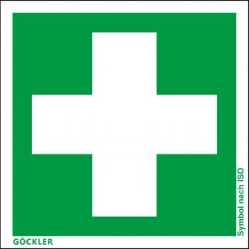 Erste Hilfe-Symbol-Schild,Gr.: 100 x 100 mm,Folie selbstklebend grün,Symbol nach ISO 7010