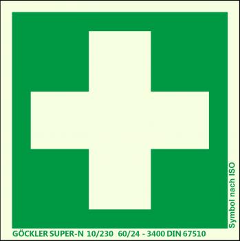 Erste Hilfe-Symbol-Schild,Gr.: 200 x 200 mm,langnachleuchtende Kunststoffplatte mit selbstklebender Schaumschicht grün,Symbol nach ISO 7010,SUPER-N 10/230 60/24 - 3400 DIN 67510