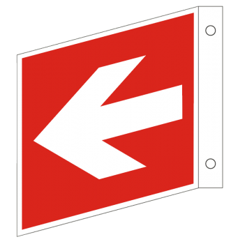 Fahnenschild Richtungsangabe-Symbol-Schild gerade, Gr.: 150 x 150 mm, Kunststoffplatte nicht klebend  rot, nach ISO
