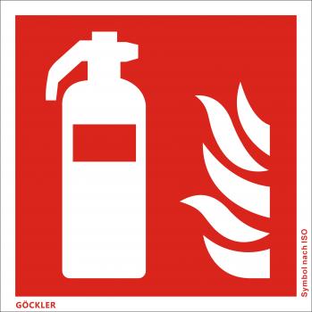 50 x Feuerlöscher-Symbol-Schild F001,Gr.: 150 x 150 mm,Folie selbstklebend rot,Symbol nach ISO 7010