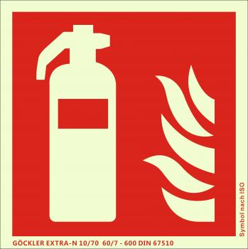 Feuerlöscher-Symbol-Schild F001,Gr.: 200 x 200 mm, langnachleuchtende Kunststoffplatte mit selbstklebender Schaumschicht rot, Symbol nach ISO 7010 ,EXTRA-N 10/70 60/7 - 600 DIN 67510