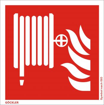 Löschschlauch-Symbol-Schild F002,Gr.: 150 x 150 mm,Folie selbstklebend rot,Symbol nach ISO 7010