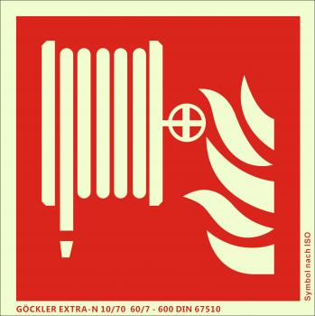 Löschschlauch-Symbol-Schild F002,Gr.: 200 x 200 mm, langnachleuchtende Kunststoffplatte mit selbstklebender Schaumschicht rot, Symbol nach ISO 7010 ,EXTRA-N 10/70 60/7 - 600 DIN 67510