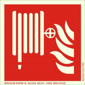 Löschschlauch-Symbol-Schild F002,Gr.: 200 x 200 mm,langnachleuchtende Folie selbstklebend rot,Symbol nach ISO 7010,SUPER-N 10/230 60/24 - 3400 DIN 67510