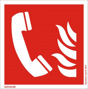 Brandmeldetelefon-Symbol-Schild F006,Gr.: 150 x 150 mm,Folie selbstklebend rot,Symbol nach ISO 7010