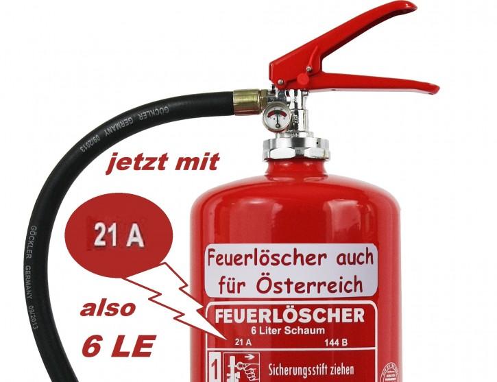 3 er Paket = 3 St  6 L #Feuerlöscher auch für Österreich# Schaum Dauerdruck-Feuerlöscher DIN EN 3 SP 154/13 , GS  , Rating: 21 A, 144 B = 6 LE