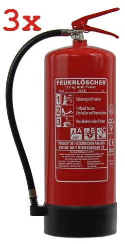 3 St. 12 kg ABC-Pulver-Dauerdruck-Feuerlöscher EN 3 Rating: 55 A, 233 B, C = 15 LE