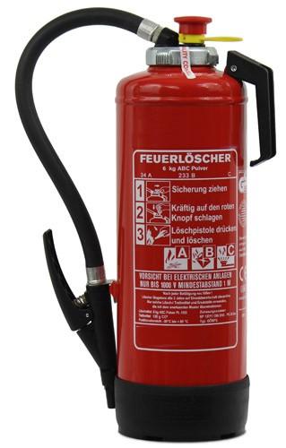 6 kg ABC-Pulver-Auflade-Feuerlöscher DIN EN 3 GS Rating:12 LE,  43 A, 233 B