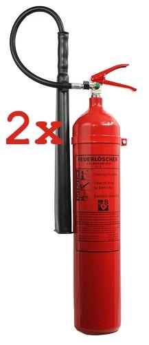 2er Paket 5 kg Kohlendioxid- Feuerlöscher DIN EN 3, GS , Rating: 05 LE, 89B, mit oder ohne Instandhaltungsnachweis erhältlich!