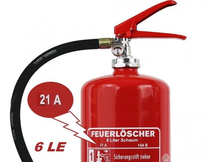 NEU 21 A 6 L Schaum Dauerdruck-Feuerlöscher DIN EN 3 SP 154/ 13, GS,  Rating: 06 LE, 21 A, 144 B außenliegendes Prüfventil