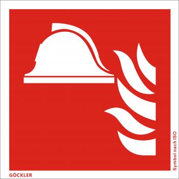 Mittel und Geräte zur Brandbekämpfung-Symbol-Schild F004,Gr.: 150 x 150 mm,Folie selbstklebend rot,Symbol nach ISO 7010