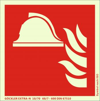 Mittel und Geräte zur Brandbekämpfung-Symbol-Schild F004,Gr.: 150 x 150 mm,langnachleuchtende Aluminium Platte mit selbstklebender Schaumschicht rot,Symbol nach ISO 7010,EXTRA-N 10/70 60/7 - 600 DIN 67510
