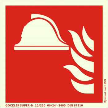 Mittel und Geräte zur Brandbekämpfung-Symbol-Schild F004,Gr.: 200 x 200 mm,langnachleuchtende Aluminium Platte mit selbstklebender Schaumschicht rot,Symbol nach ISO 7010,SUPER-N 10/230 60/24 - 3400 DIN 67510