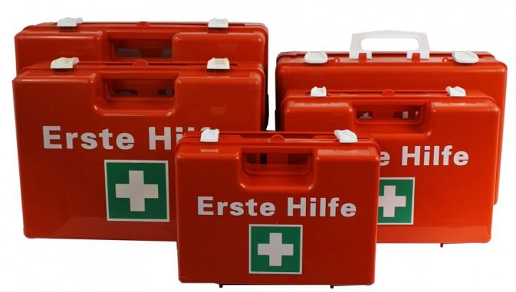 Erste- Hilfe- Koffer, Orange, M:32x22x12, plus Wandhalterung