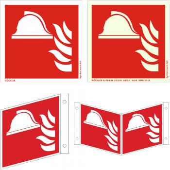 Brandschutzzeichen Mittel und Gerät zur Brandbekämpfung - Schild ISO 7010 F004, von 150- 200 mm