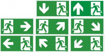 Hier klicken Flucht- Rettungswegzeichen- Schild ISO 7010, in 300x150 mm