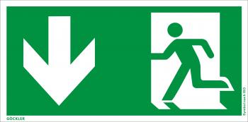 Rettungsweg Notausgang unten Symbol-Schild, Gr.: 300 x 150 mm, Kunststoffplatte nicht klebend grün, Symbol nach ISO 7010