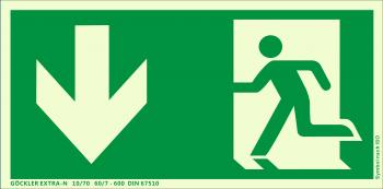 Rettungsweg Notausgang unten Symbol-Schild,Gr.: 300 x 150 mm,langnachleuchtende Folie selbstklebend grün,Symbol nach ISO 7010,EXTRA-N 10/70 60/7 - 600 DIN 67510