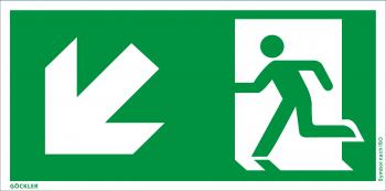 Rettungsweg links abwärts Symbol-Schild,Gr.: 300 x 150 mm,Folie selbstklebend grün,Symbol nach ISO 7010