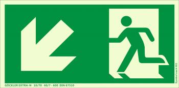 Rettungsweg links abwärts Symbol-Schild,Gr.: 300 x 150 mm, langnachleuchtende Kunststoffplatte mit selbstklebender Schaumschicht grün, Symbol nach ISO 7010 ,EXTRA-N 10/70 60/7 - 600 DIN 67510