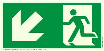 Rettungsweg links abwärts Symbol-Schild,Gr.: 300 x 150 mm, langnachleuchtende Kunststoffplatte mit selbstklebender Schaumschicht grün, Symbol nach ISO 7010 ,SUPER-N 10/230 60/24 - 3400 DIN 67510
