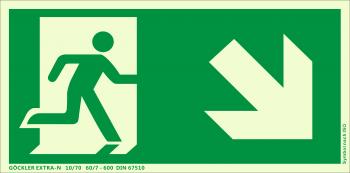 Rettungsweg Treppe runter rechts Symbol-Schild,Gr.: 300 x 150 mm, langnachleuchtende Aluminium Platte mit selbstklebender Schaumschicht grün, Symbol nach ISO 7010 ,EXTRA-N 10/70 60/7 - 600 DIN 67510
