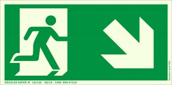 Rettungsweg rechts abwärts Symbol-Schild,Gr.: 300 x 150 mm, langnachleuchtende Kunststoffplatte mit selbstklebender Schaumschicht grün, Symbol nach ISO 7010 ,SUPER-N 10/230 60/24 - 3400 DIN 67510