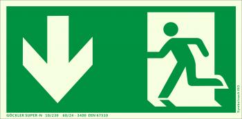 Rettungsweg Notausgang unten Symbol-Schild,Gr.: 300 x 150 mm, langnachleuchtende Aluminium Platte mit selbstklebender Schaumschicht grün, Symbol nach ISO 7010 ,SUPER-N 10/230 60/24 - 3400 DIN 67510