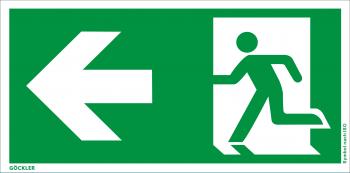 Rettungsweg links Symbol-Schild, Gr.: 300 x 150 mm, Kunststoffplatte nicht klebend grün, Symbol nach ISO 7010