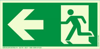 Rettungsweg links Symbol-Schild,Gr.: 300 x 150 mm,langnachleuchtende Folie selbstklebend grün,Symbol nach ISO 7010,SUPER-N 10/230 60/24 - 3400 DIN 67510