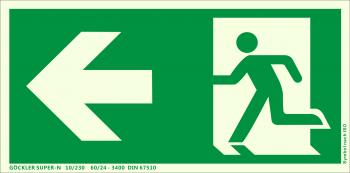 Rettungsweg links Symbol-Schild,Gr.: 300 x 150 mm, langnachleuchtende Kunststoffplatte mit selbstklebender Schaumschicht grün, Symbol nach ISO 7010 ,SUPER-N 10/230 60/24 - 3400 DIN 67510
