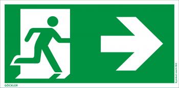 Rettungsweg rechts Symbol-Schild,Gr.: 300 x 150 mm,Folie selbstklebend grün,Symbol nach ISO 7010