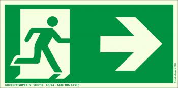 Rettungsweg rechts Symbol-Schild,Gr.: 300 x 150 mm, langnachleuchtende Aluminium Platte mit selbstklebender Schaumschicht grün, Symbol nach ISO 7010 ,SUPER-N 10/230 60/24 - 3400 DIN 67510