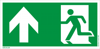 Rettungsweg Notausgang oben Symbol-Schild,Gr.: 300 x 150 mm,Folie selbstklebend grün,Symbol nach ISO 7010
