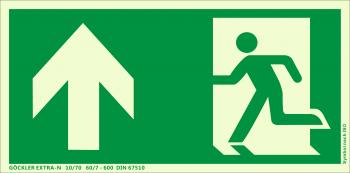 Rettungsweg Notausgang oben Symbol-Schild,Gr.: 300 x 150 mm,langnachleuchtende Folie selbstklebend grün,Symbol nach ISO 7010,EXTRA-N 10/70 60/7 - 600 DIN 67510