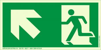 Rettungsweg links aufwärts Symbol-Schild,Gr.: 300 x 150 mm, langnachleuchtende Kunststoffplatte mit selbstklebender Schaumschicht grün, Symbol nach ISO 7010 ,EXTRA-N 10/70 60/7 - 600 DIN 67510