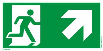 Rettungsweg rechts aufwärts Symbol-Schild, Gr.: 300 x 150 mm, Kunststoffplatte nicht klebend grün, Symbol nach ISO 7010