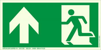 Rettungsweg Notausgang oben Symbol-Schild,Gr.: 300 x 150 mm, langnachleuchtende Kunststoffplatte mit selbstklebender Schaumschicht grün, Symbol nach ISO 7010 ,SUPER-N 10/230 60/24 - 3400 DIN 67510