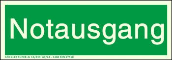 Textschild: Notausgang,Gr.: 300 x 105 mm,langnachleuchtende Folie selbstklebend grün,SUPER-N 10/230 60/24 - 3400 DIN 67510