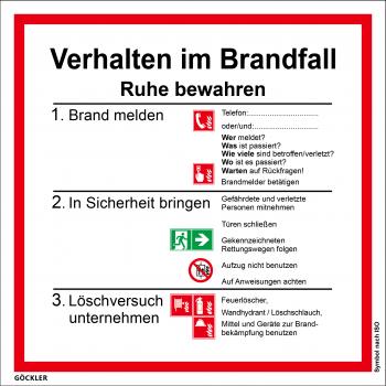 Verhalten im Brandfall-Schild,Gr.: 200 x 200 mm,Kunststoffplatte mit selbstklebender Schaumschicht,Symbol nach ISO 7010
