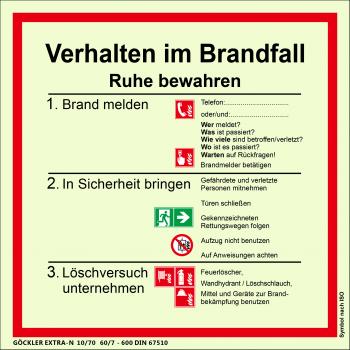 Verhalten im Brandfall-Schild,Gr.: 200 x 200 mm,langnachleuchtende Kunststoffplatte mit selbstklebender Schaumschicht,Symbol nach ISO 7010,EXTRA-N 10/70 60/7 - 600 DIN 67510