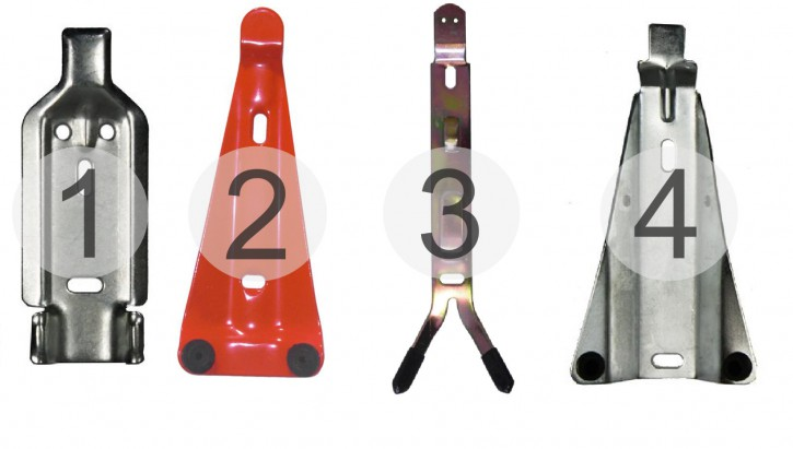 Feuerlöscher Wandhalterung verschiedenen ausführung 1. verzinkt 2. rot lackiert mit 2 Gummiauflagen 3.gelb galvanisiert mit 2 Gummiauflagen 4. verzinkt mit 2 Gummiauflagen