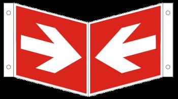 Winkelschild Richtungsangabe-Symbol-Schild gerade, Gr.: 200 x 200 mm, langnachleuchtende Kunststoffplatte rot, nach ISO