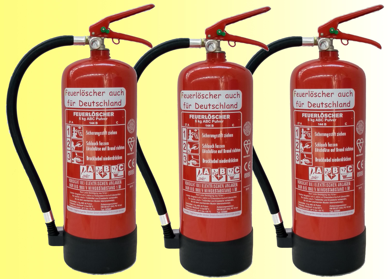 Berühmt 3´er Pack 6kg ABC Pulver Feuerlöscher auch für Deutschland EN 3; 9 PJ81