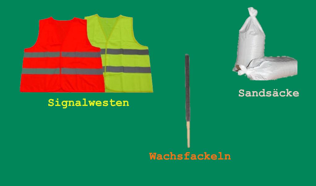 Warnwesten / Sandsack / Wachsfackel