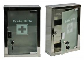 kleiner Erste- Hilfe- Schrank aus Edelstahl mit Glastür + Füllung DIN 13157
