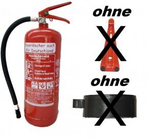 Feuerlöscher 6kg ABC Pulverlöscher mit Manometer EN 3 , Messingarmatur Sicherheitsventil , OHNE Kunststoffstandfuß , OHNE Wandhalter, mit oder ohne Instandhaltungsnachweis erhältlich!